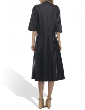 Rochie neagra cu guler de camasa