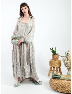 Rochie maxi din voal transparent cu imprimeu grafic