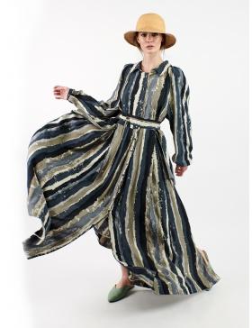 Rochie maxi din vascoza cu imprimeu pictural