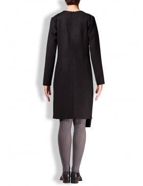 Rochie stofa neagra cu taietura asimetrica