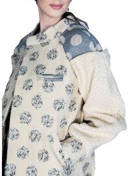 Bomber supradimensionat din stofă de lână cu buline texturate