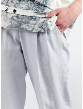 Pantaloni cu talie inalta din in