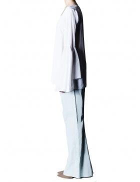 Bluza cupro alb cu maneci evazate
