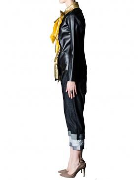 Jacheta din piele cu falduri