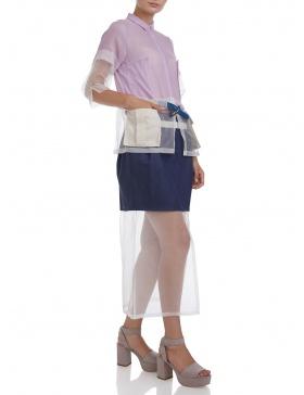 Camasa trench cu buzunare si curea #lila