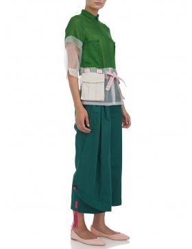 Camasa trench cu buzunare si curea #verde