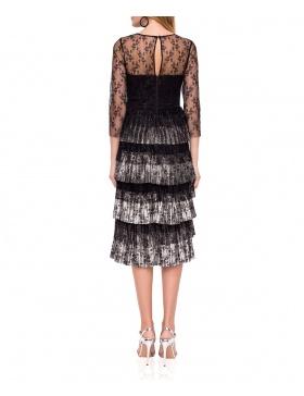 Rochie midi elegantă din dantelă cu volane aplicate