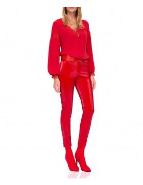 Pantaloni slim cu textură lucioasă