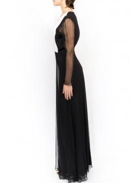 Rochie din voal negru cu guler in V