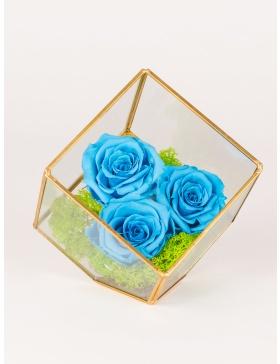 Aranjament cu trei trandafiri conservati