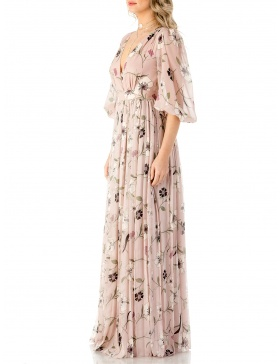 Rochie din voal de matase cu print floral