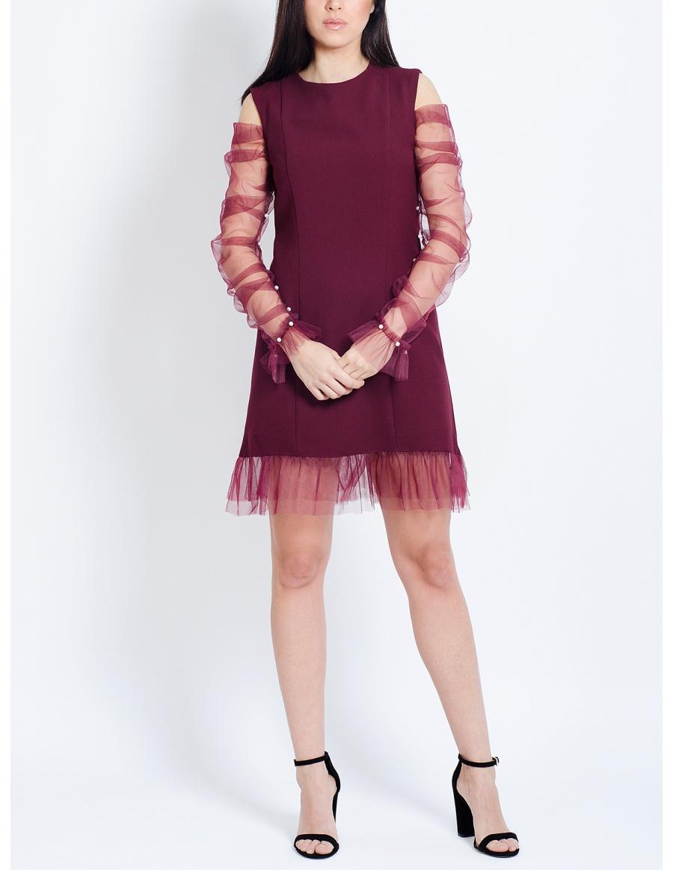 Rochie visinie Meryl cu maneci din tul si aplicatii din perle