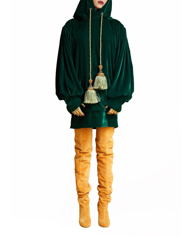 Hanorac din catifea verde smarald