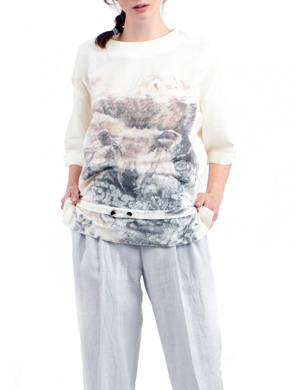 Bluza din bumbac moale cu desen imprimeu digital semnat Sandra Chira