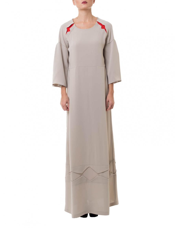 Rochie lunga gri dechis cu detalii traditionale decupate