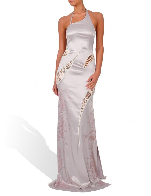 Rochie lunga argintie cu detalii din jerse crem