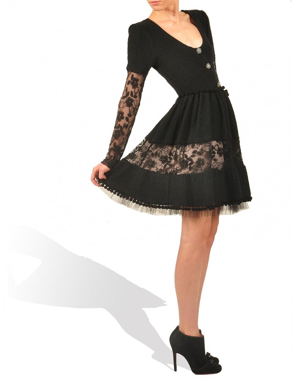 Rochie neagra din lana
