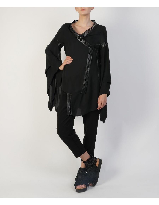 Kimono din voal negru