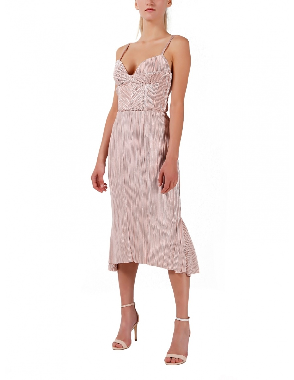 Rochie asimetrica roz pudrat