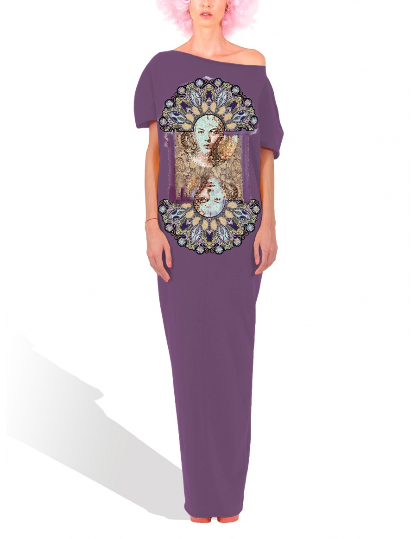 Rochie conica maxi Peacock violet