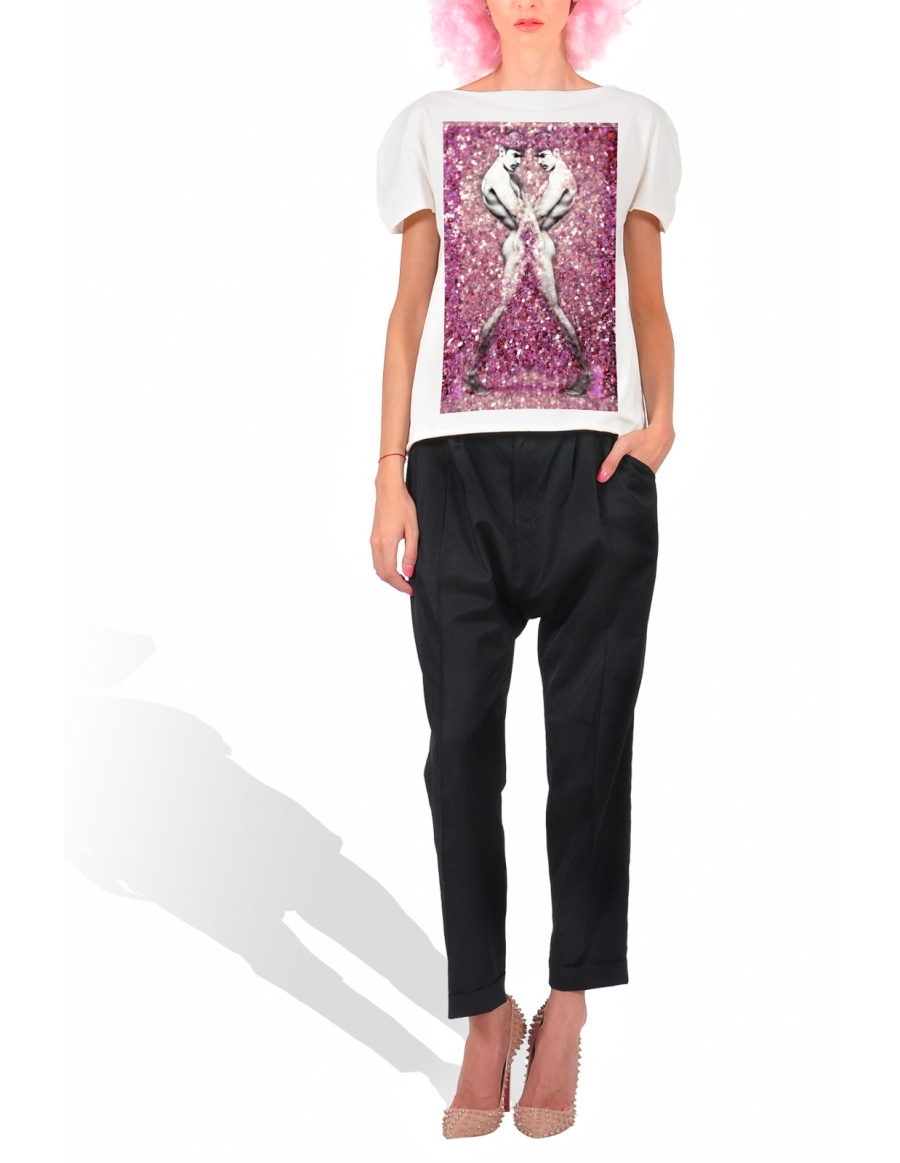 Tricou Pink Narcissus in nuanta Lapte