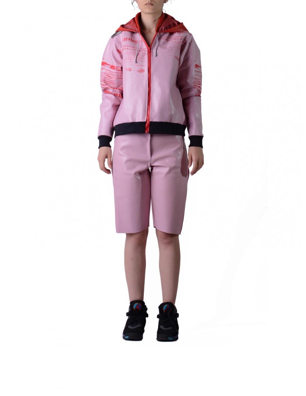 Jacheta roz din piele