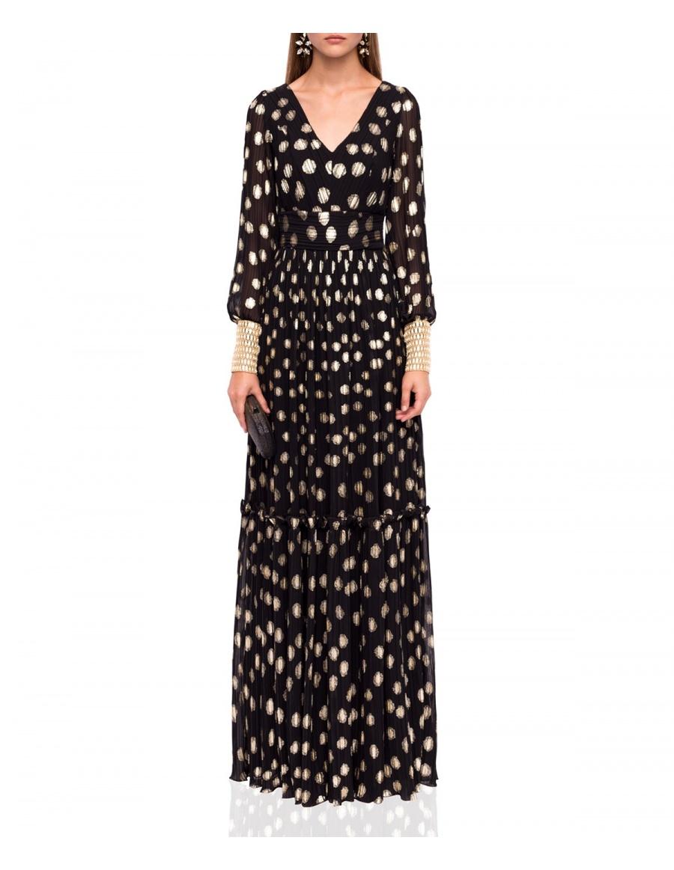 Rochie maxi elegantă cu imprimeu auriu