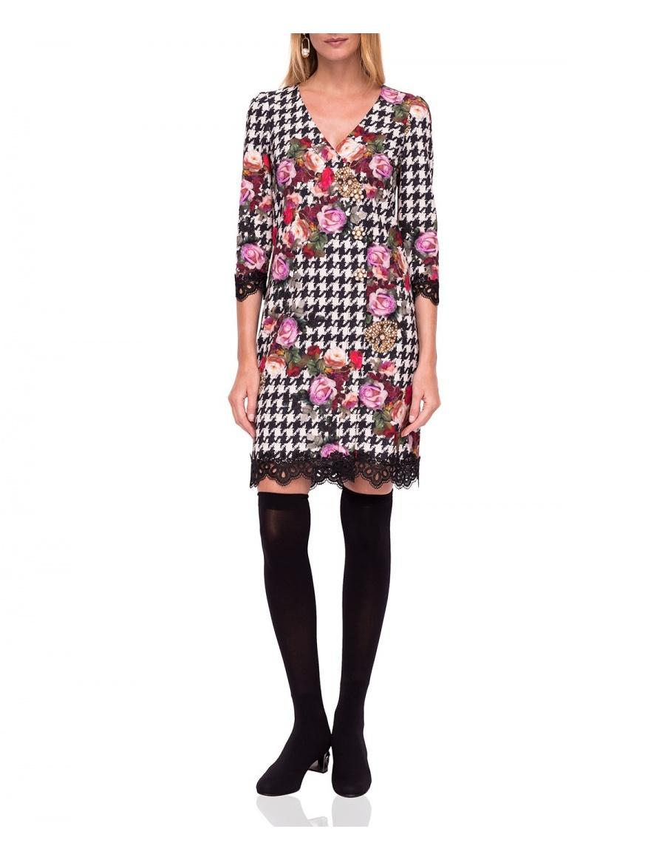 Rochie dreaptă cu imprimeu floral