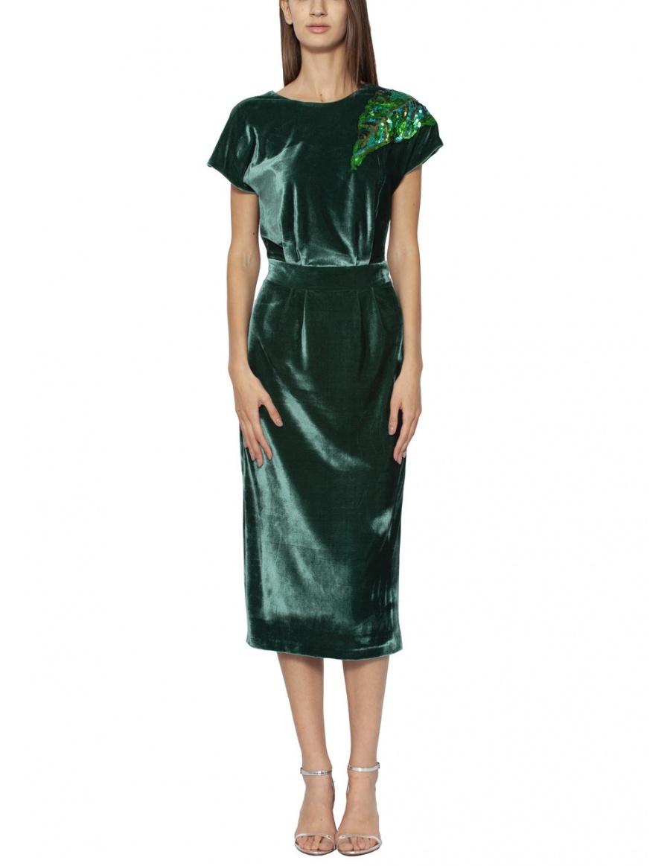 Rochie din catifea cu aplicatie din paiete