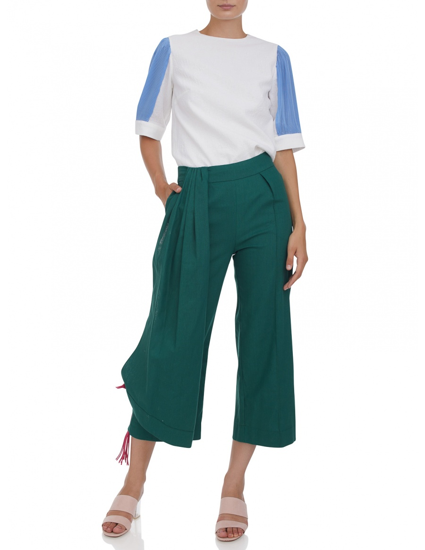Pantaloni cropped cu franjuri din piele