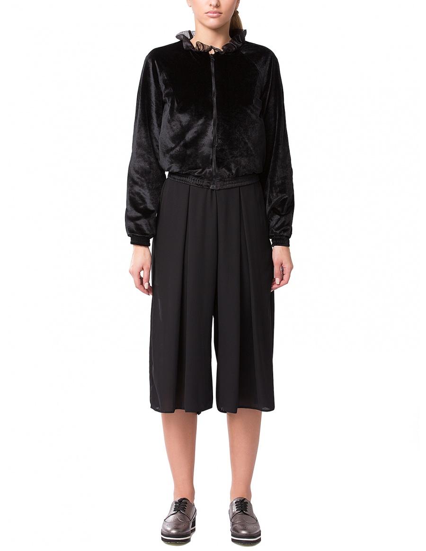 Jacheta din catifea neagra cu guler volan