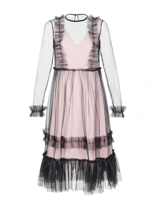 Rochie roz Vanessa cu suprapunere din tule cu volane