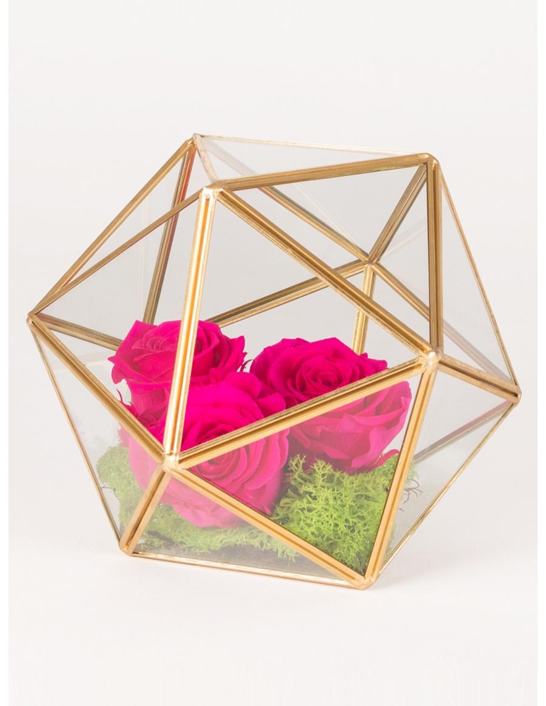 Trandafiri criogenati in prisma in forma de sfera