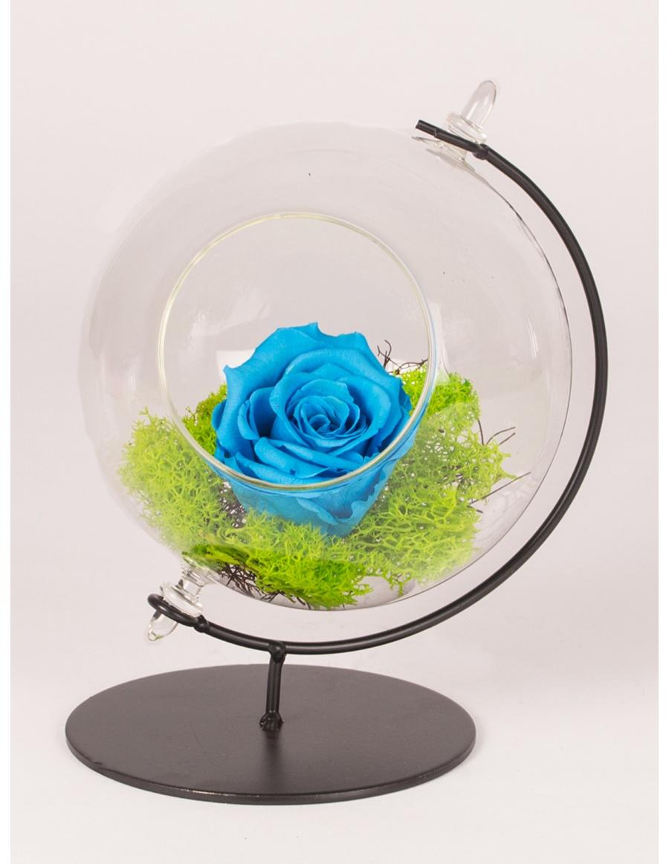 Trandafir conservat in glob de sticla