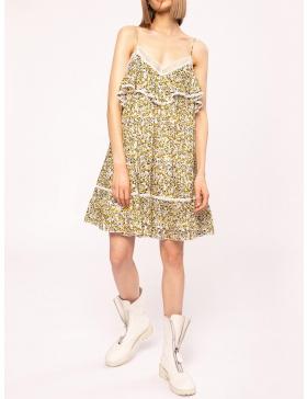Rochie cu print floral si bretele subtiri