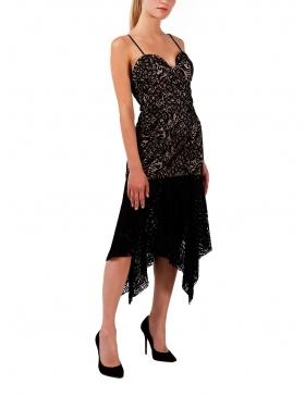 Rochie din dantela neagra cu volan asimetric