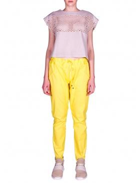 Pantaloni sport galbeni cu paspol
