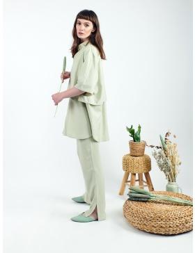 Pantaloni fluizi verde pastelat