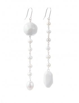 Cercei din portelan si perle