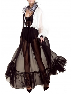 Rochie cu guler din pene de strut