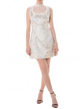 Rochie din brocart cu insertii de voal