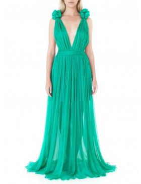Rochie verde din matase