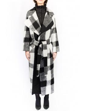 Palton cu patrate alb-negru