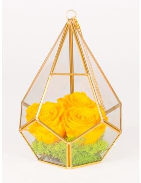 Trandafiri conservati in prisma in forma de diamant