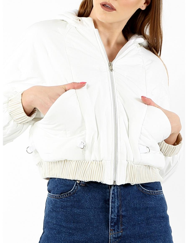 Jachetă bomber scurtă albă | Sandra Chira