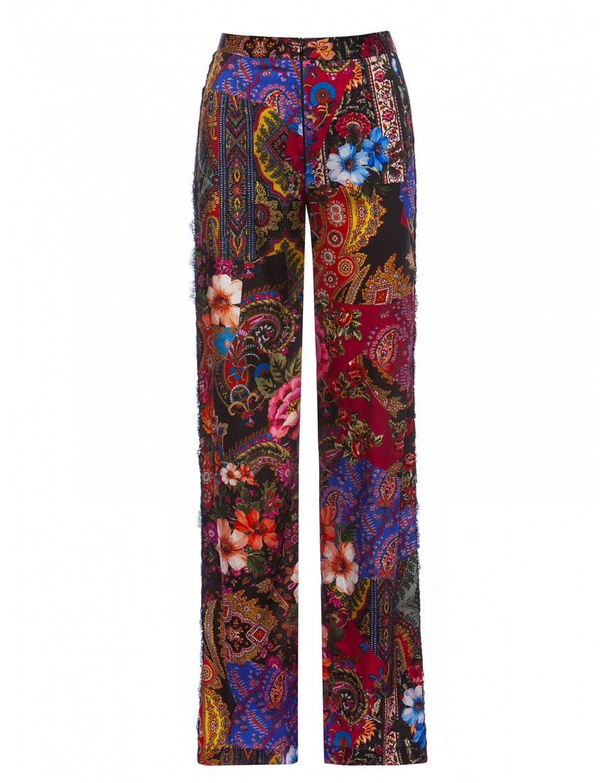 Pantaloni satinati cu vipusca din dantela | Nissa